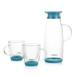 SIMELO首尔风情维利亚耐热玻璃水具冷水壶 浅蓝色一壶两杯
