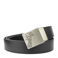 范思哲男士黑色可裁剪经典美杜莎LOGO款板扣格纹腰带 V91006S VM00043 V000
