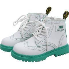 女童马丁靴2019年秋季新款儿童靴子拼色男童英伦风皮靴小女孩短靴