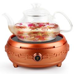 欧博(OPO)DT-03 电陶炉烧水壶套装带耐高温玻璃壶玫瑰金