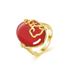 熙尊如意红玛瑙戒指