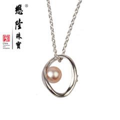 懋隆S925银镀金正圆强光无暇淡水珍珠项链颈链礼物正品包邮