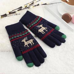 秋冬季防滑触屏女针织毛线小鹿图案防寒加绒加厚保暖骑行手套