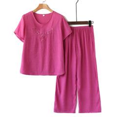 中老年人女装夏装妈妈短袖棉麻休闲套装2020新款奶奶夏季两件套装