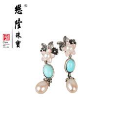 懋隆S925银饰手工设计螺钿贝壳珍珠花朵绿松石耳钉耳坠女款