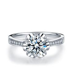 丝幔翩跹 0.5ct/1粒 G色 SI1 18K金简约优雅钻石戒指 订婚结婚戒指