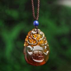 琳福珠宝  天然墨西哥蓝珀如意龙琥珀雕刻件吊坠(国检证书正品链子可调节男女款)