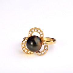 琳福珠宝  波罗的海天然琥珀蓝珀戒指 女款925银镀金镶嵌戒指