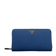 PRADA/普拉达 女士款式天蓝色牛皮大号手包/钱包内置PRADA铅笔