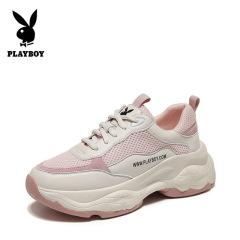 花花公子女鞋2019新款韩版休闲运动鞋厚底透气网布跑步鞋