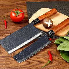 鼎匠2圣殿系列菜刀手工锻打切肉刀不锈钢厨刀家用切菜厨房刀具2件套