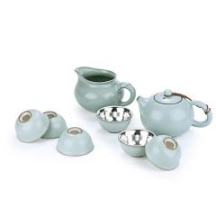 金猫银猫CSmall 足银999汝窑鎏银茶具套装 禅心 商务送礼 套装/1茶壶1公道杯6茶杯