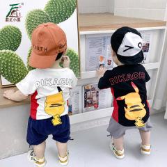 菲尔小屋   夏季新款ins卡通套头T恤儿童宝宝套装 童装