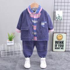 童装2020新款男童春秋卡通牛仔外套三件套0一4岁小童宝宝套装秋装