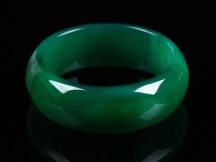 琳福珠宝 天然冰种绿玛瑙宽边手镯子女款水晶玛瑙手镯妈妈手镯
