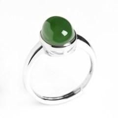 琳福珠宝 925银镶嵌和田碧玉蛋面指环戒指(国检证书  活口 可调节)
