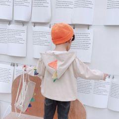 菲儿小屋 2020秋季男女童韩版时尚个性恐龙连帽夹棉夹克衫送背包