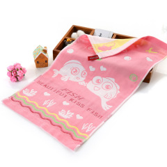 斜月三星棉纱布卡通儿童毛巾 25*50cm*2条装