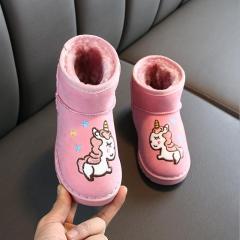 儿童雪地靴2019年卡通保暖靴子男童女童大棉防滑套脚童鞋低筒学生