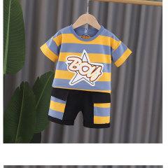 菲儿小屋外贸夏季新品男童圆领横条全棉短袖T恤BOY两件套