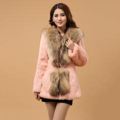 瑷美天使2016新款法国进口整皮兔毛修身显瘦收腰奢华貉子整皮大毛领中长款长袖兔毛皮草外套