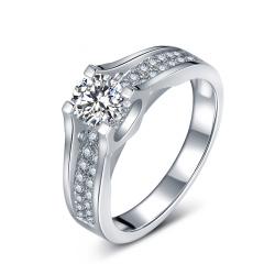 芭法娜 一生承诺 0.3ct/1粒 D色 SI1 铂金Pt950钻石戒指 订婚结婚戒指