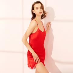 维多拉斯夏季新款女士仿真丝性感舒适优雅吊带睡裙睡衣家居服8113