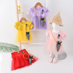 菲儿小屋  格子纱裙2020夏季女童新品0-3岁小童女宝洋气网纱公主连衣裙跨境