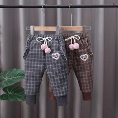 2020冬季新款儿童长裤 格子休闲加厚保暖童装裤子 男女童棉裤