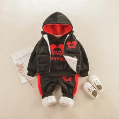 新款小童银狐绒帽兜三件套 加绒保暖卫衣马甲套装 宝宝冬季套装