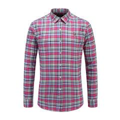 男士长袖休闲衬衫细格纹翻领修身商务衬衫23635119