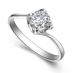 芭法娜 永恒的爱 0.8ct/1粒 G色 VS2 18K金简约优雅钻石戒指