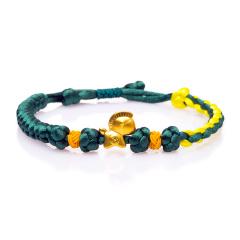 芭法娜 马上来财 3D硬金足金黄金转运珠编织手链 可调节长短 附证书