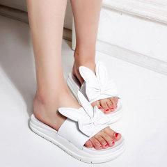 娜箐箐2017夏季新款甜美牛皮露趾厚底平底松糕女鞋中跟真皮凉拖鞋
