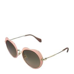 MiuMiu/缪缪 女士心形粉色珐琅金属镜框渐变色镜片太阳镜 54RS U6I3D0 52
