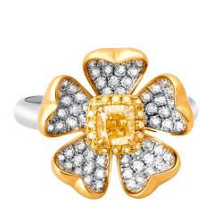 芭法娜 繁花似锦 0.46ct天然黄钻彩钻奢华钻石女戒