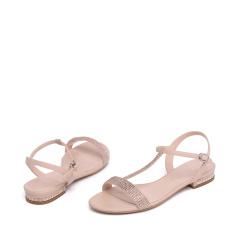 达芙妮(DAPHNE)时尚亮片低跟T字带女凉鞋1016303040