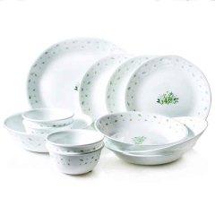 美国康宁(CORELLE)田园香草系列**耐热玻璃12件组-12HC·白色