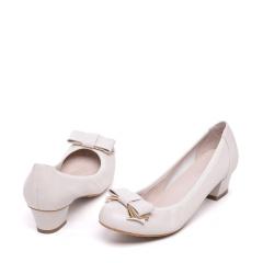 达芙妮(DAPHNE)时尚金属蝴蝶结羊皮粗跟低跟浅口舒适女单鞋1016101023