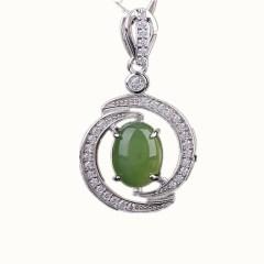 琳福珠宝 S925银镶嵌和田碧玉项链吊坠饰品