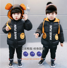 菲儿小屋  韩版新款 现货1~3岁连帽可爱笑脸加厚保暖童棉衣 2019年冬季外套