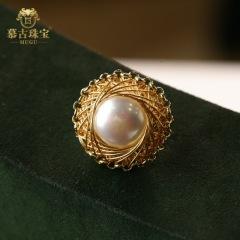 慕古 【一带一路外销款】时尚手工设计款珍珠胸针