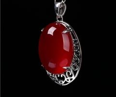 琳福珠宝  S925银镶嵌水滴玉髓项链吊坠女式