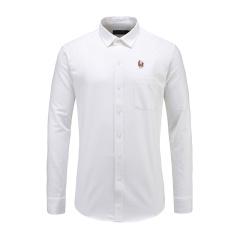 男士商务长袖休闲衬衫翻领白色打底衬衫23635116