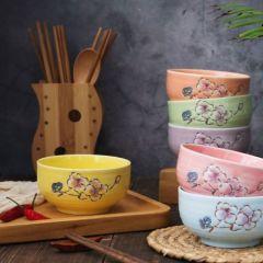 福辰 日式创意秘密花园陶瓷碗套装家用碗筷套装4只碗