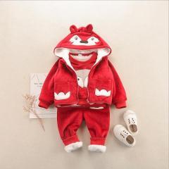 中小童冬款加绒保暖套装 2019童套装 宝宝套装卡通加厚外套
