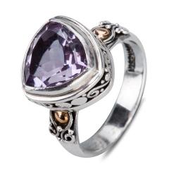 神秘梦幻紫水晶银戒指 货号105973
