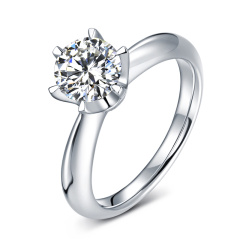 芭法娜 永恒格调 0.7ct/1粒 D色 SI2 18K金简约优雅钻石戒指