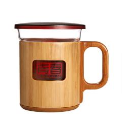 玻璃泡茶杯 耐热玻璃茶水杯 竹服红