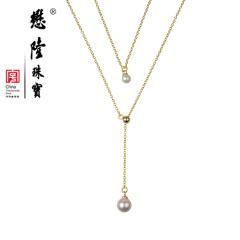 懋隆S925银饰天然淡水珍珠正圆无暇强光双层项链毛衣链正品包邮